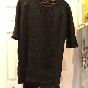 Textured black t-shirt dress